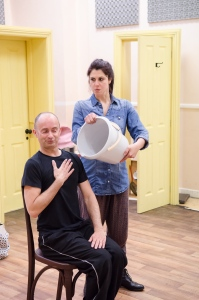 Darren Southworth and Lara Stubbs 1  - Cox&Box rehearsal. Photo by James Drawneek